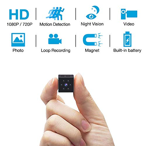 Hidden Camera HD 1080P Built in Rechargeable Battery Mini Camera with Motion Detection and Night Vision Function and Arm Bandage for Indoor/Outdoor Magnetic&Wearable Nanny Cam for Car, Home and Sport