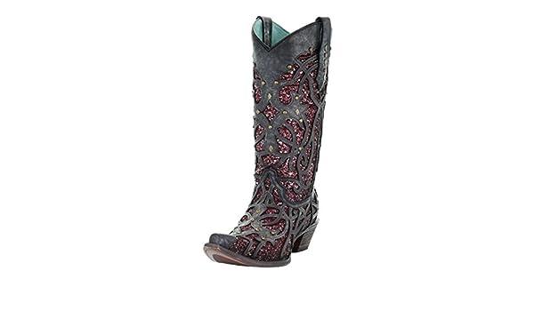 2f122851810c Amazon.com   Corral C3406 Black Purple Glitter Inlay and Studs Snip Toe  Boots (6 B(M))   Boots