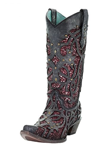 Corral Women's Snip Toe Purple Glitter Inlay & Studs Cowgirl Boot - Black - BLACK/PURPLE - 8.5 - M
