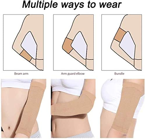 Arm Slimming Shaper for Women, Arm Compression Wrap Sleeve, Weight Loss Upper Arm Shaper, Helps Lose Arm Fat Toneup Arm Shaping Sleeves for Beauty Women 2 Pair (Beige) 3