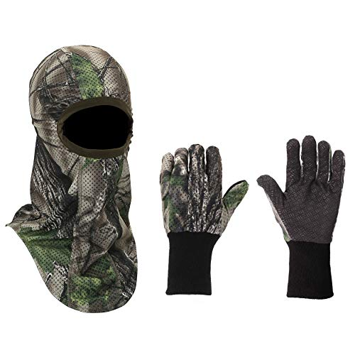 North Mountain Gear Hunting Camouflage Gloves and Face Mask Set - Soft - Quiet - Breathable Green Woodland Camo