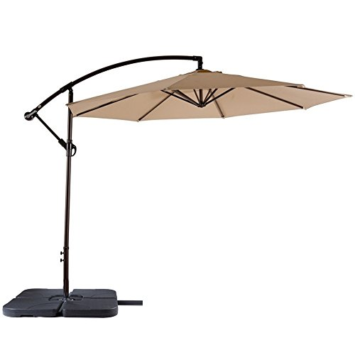 【Limited Deal】SNAIL 10' Commerical Aluminum Offset Patio Umbrella Outdoor Cantilever Hanging Umbrella with Cross Base, Beige