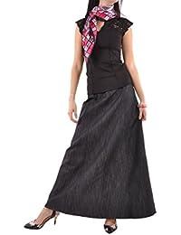 Shimmer Black Long Denim Skirt