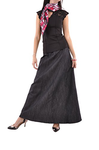 (Style J Shimmer Black Long Denim Skirt-Black-28(8))