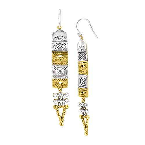 Silpada 'Aztec' Hinged Drop Earrings in Sterling Silver & Brass