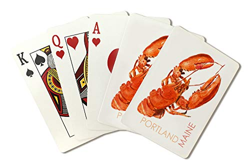 (Portland, Maine - Lobster - Watercolor 96136 (Playing Card Deck - 52 Card Poker Size with Jokers))