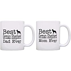 Dog Lover Gift Best German Shepherd Mom Dad Ever Puppy Bundle 2 Pack Gift Coffee Mugs Tea Cups White