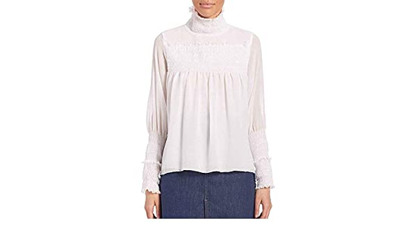 c67f3701d5 Amazon.com: See by Chloe Women's White Smocked Blouse (10): Clothing
