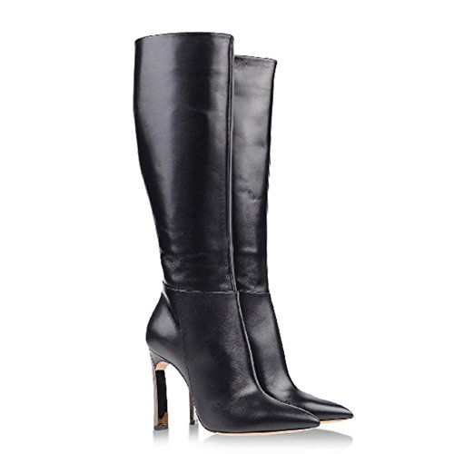 Fashion Women Boots Pointed Side Zipper High Tube Leather High Thin Heels Warm Shoes BLACK-40 yfBvHFhz