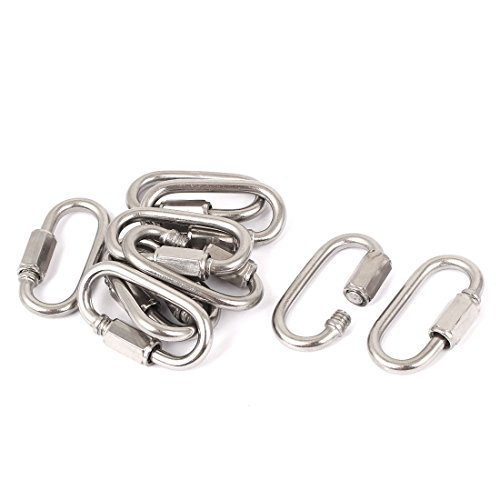 uxcell 4mm Thickness 304 Stainless Steel Quick Links Carabiners 10 Pcs
