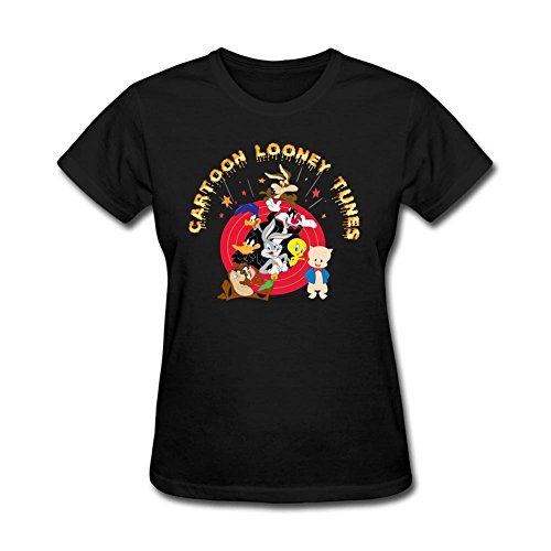 Comfortable Ladies Cartoon Looney Tunes Charactors Round Neck Short Sleeve T Shirts Black M Costume (Colossus Costume)