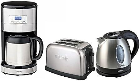 H. Koenig Acero Inoxidable – Juego de desayuno: Cafetera con termo y temporizador + 1,2 litros Hervidor de agua inalámbrico + 2 de discos de tostadora: Amazon.es: Hogar
