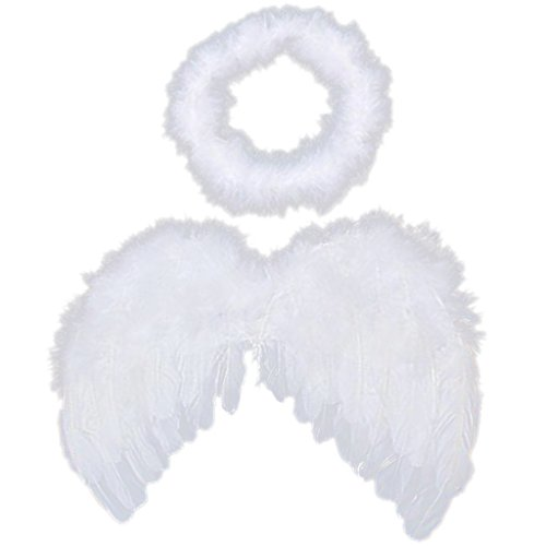 Cupid Fairy Costumes (6-18mo Angel Feather Wings Cupid Fairy Baby Photo Props Free Halo by Unknown)