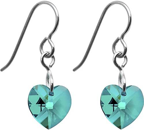 Solid Titanium Heart December Birth Month Earrings Created with Swarovski Crystals