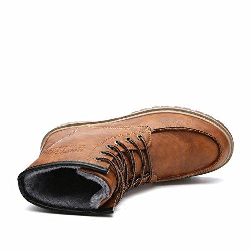 Tanly Mens Päls Fodrad Fotled Läderstövlar, Bomull Vadderade Skor Gulbrun
