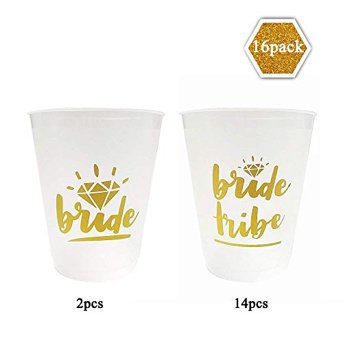 Bachelorette Party Cups,Bride Tribe, Team Bride Cups,16 oz- 16 Pack Cups Set for Weddings, Bridal Showers, Engagement Party Decoration & Bride to be Gift.(White & Metallic Gold).