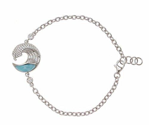 925 sterling silver genuine natural larimar Hawaiian ocean wave bracelet cz 17mm 7''+ by Arthur's Jewelry