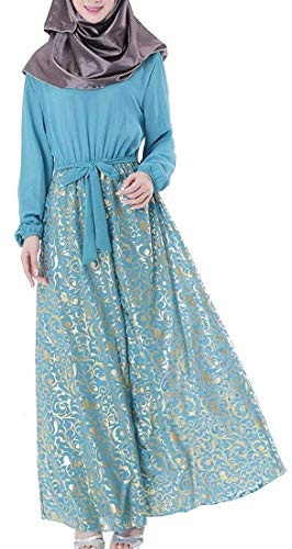 línea túnica del tamaño tamaño de Vestido Grande Color musulmán Blue árabe Phelion la Sky del Las de una Line Pequeña Extra Gasa Túnica de Largo de T Mujeres la xnqawTYp1