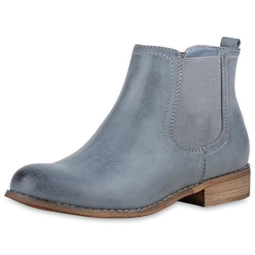 be6045214df1 napoli-fashion Damen Stiefeletten Flache Chelsea Boots Leder-Optik Schuhe  Gr. 36-