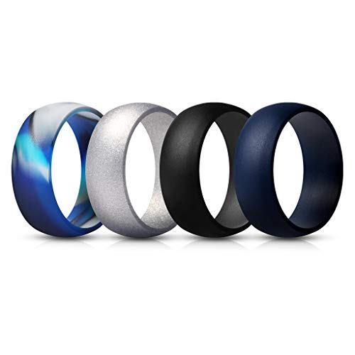 ThunderFit Mens Silicone Rings Wedding Bands – 4 Pack (Blue Camo, Blue Navy, Black, Silver, 9.5-10 (19.8mm)) Review