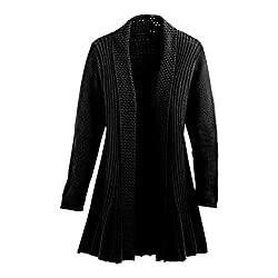 Cardigans For Women Long Sleeve Midweight Swingy Knit Cardigan Sweater W Pocket Black Small