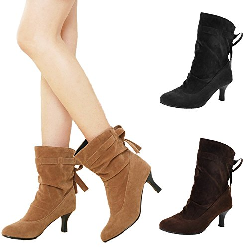 winter ankle boots short Black Mid on booties slip Ladies shoes heel Nonbrand qxOtpzHH