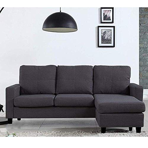 CasaStyle   Davin 4 Seater Interchangeable 3+1 Ottoman Fabric L Shape Sofa Set  Grey