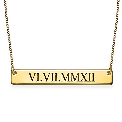 Roman Numeral Bar Necklace Personalized Name Necklace Sterling Silver 0.925 ()