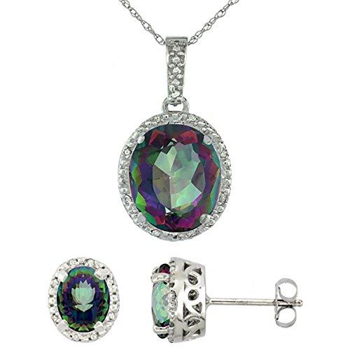 Boucles d'oreilles Ovale Topaze Mystique naturel et pendentif or blanc 9carats de diamants Accents