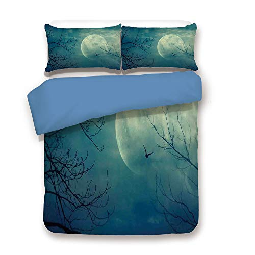 Duvet Cover Set,Blue Back,Horror House Decor,Halloween with Full Moon in Sky and Dead Tree Branches Evil Haunted Forest,Blue,Decorative 3 Pcs Bedding Set by 2 Pillow Shams,Full Size for $<!--$108.89-->
