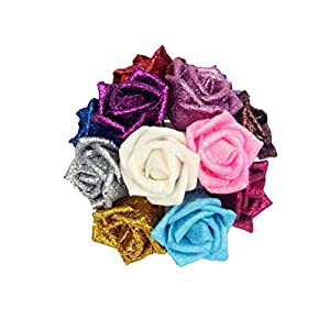 Decorative Flowers - 5 Pcs Lot Glitter Foam Pe Artificial Flowers Rose Head Real Touch Gorgeous Shiny Home Wedding Party - Cemetery Wholesale Blossom Greenery Heads Outdoors Table Turquoise Kit 7