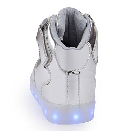 Simpatico Led Light Up Scarpe Per Uomo Donna Alta Top Usb Ricarica 16 Colori Moda Lampeggiante Sneakers Con Controllo App Ragazzi Ragazze Argento