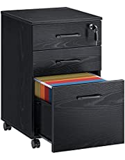Rolanstar File Cabinet with 3 Drawers, Rolling File Cabinet with Lock, Vertical Office Filing Cabinet with Wheels for A4, Letter Sized Documents, Hanging File Folders,Home Office
