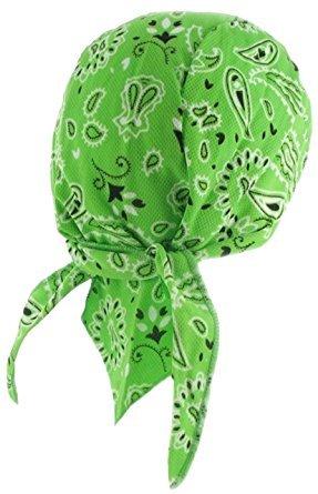 (Hi-Vis High Visibility Safety Caps Hats Bandanas Doo Rags Beanies Hunting (Hi-Vis Green Paisley Doo Rag with SWEATBAND))