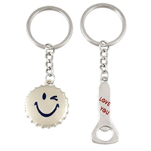 2 PC-Lächeln Drehverschlussöffner Lovers Schlüsselanhänger Schlüsselbund