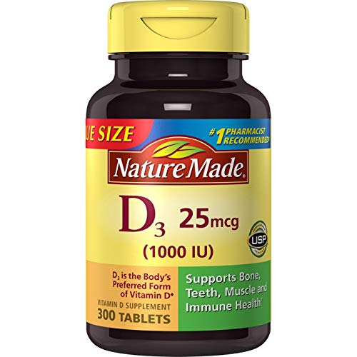 Nature Made Vitamin D3, 1000 IU, Tablets, 300 CT (Pack of 2) (Best Vitamin D Tablets)