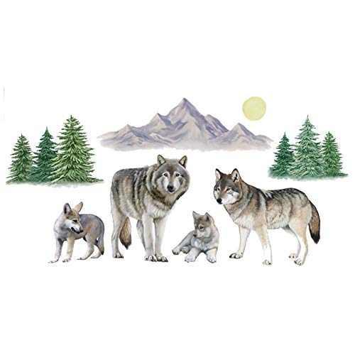 Collections Etc Wolf Family Outdoor Scene Garage Door Magnets - Removable and Reusable Outdoor Decorative Accents