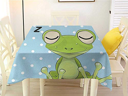 (L'sWOW Square Tablecloth Cotton Cartoon Sleeping Prince Frog in a Cap Polka Dots Background Cute Animal World Kids Decor Green Blue Polyester 60 x 60)