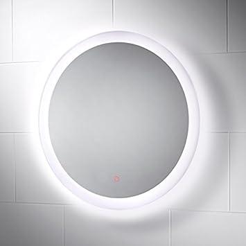 Pebble Grey Round LED Illuminated Bathroom Mirror With Touch Sensor And Demister Pad Venus Diameter