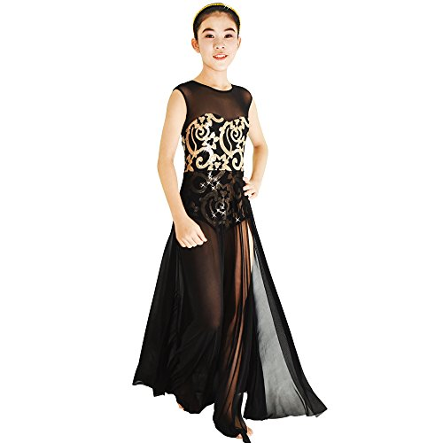 Contemporary Dance Costumes Black (MiDee Lyrical Dress Dance Costume 4 Colors Floral Sequin Tank Leotard Maxi Skirt (LC, Black))