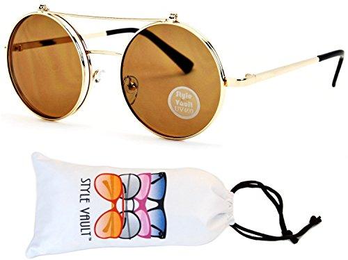 V135-vp Style Vault Round Flip up Django Metal Sunglasses (B2735F Gold-brown, - Glasses Up Flip With Shades