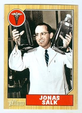 Jonas Salk trading card (Famous Doctor) 2009 Topps Heritage #61 Epidemiology Polio Vaccine