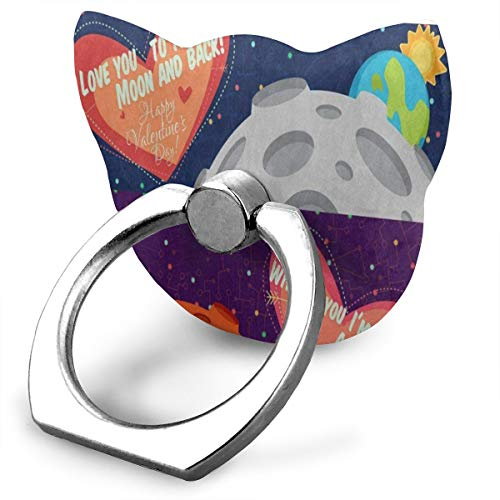 lentine's Day Heart Solar System Cat Type Ring Phone Holder Adjustable 360° Rotation Phone Stand for IPad Phone X/6/6s/7/8/8 Plus/7, Galaxy S9/S9 Plus/S8/S7 Android Smartphone ()