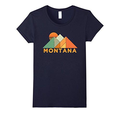 Womens Retro Vintage Montana T Shirt Distressed Shirt Large Navy