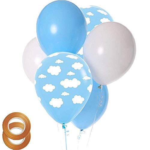 Cloud Print Blue Balloons and White Blue Latex Balloons 50 Count for Children Boy Girl Birthday Party Baby Shower Decoration