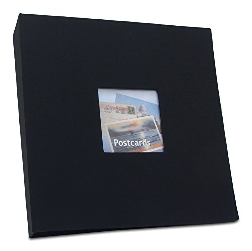 Hobbymaster Postcard Collecting Album, Prestige Linen Style, Pure Black