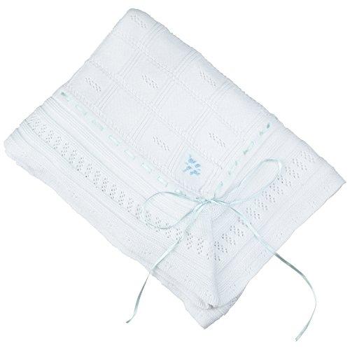 Baby Girls Feltman Brothers Baby Boys White Christening Baptism Shawl Blanket Blue Ribbon Trim,White/Blue,48