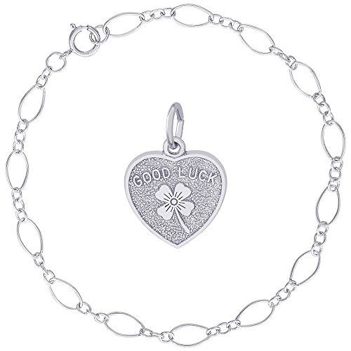 Rembrandt Charms Sterling Silver Good Luck Heart Clover Charm on a Figaro Link Bracelet, - Irish Links Success