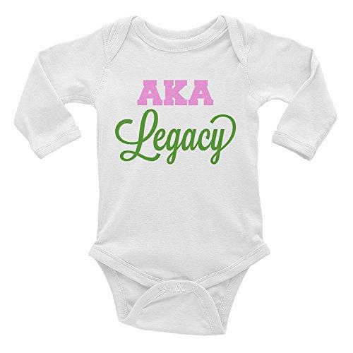 Alpha Kappa Alpha Infant Long Sleeve Onesie White