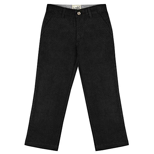 Buyless Fashion Boys Pants Flat Front Slim Fit Casual Corduroy Solid Color - 19W1824-BLK-7 -